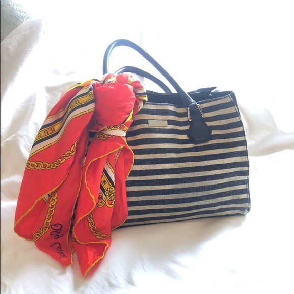 kate spade Handbags - Kate Spade Black Stripe Handbag Used